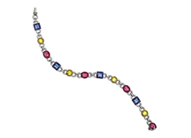 14K White Gold Genuine Blue Topaz, Citrine, Pink Tourmaline Bracelet With Touch Of Diamonds